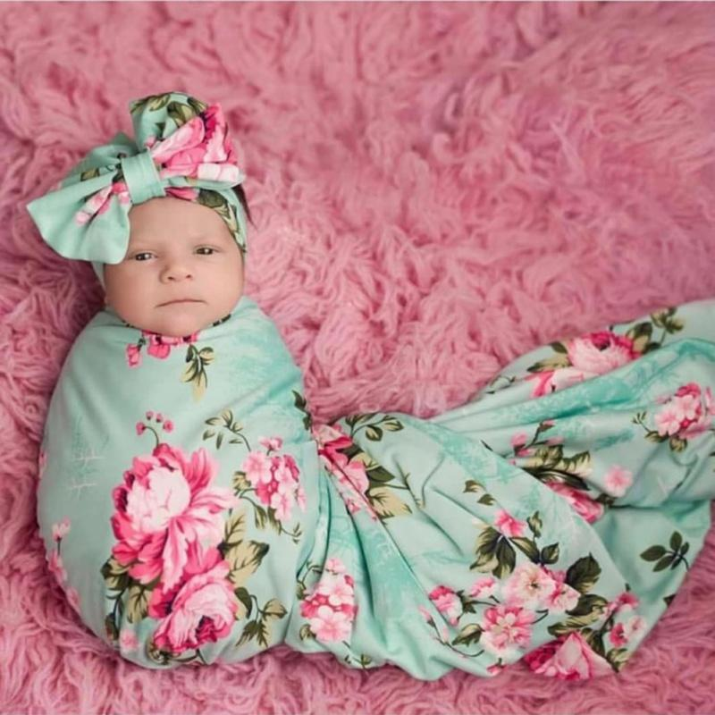 Bebé recién nacido diadema turbante permutas infantil del bebé del arco bandas para la cabeza + Swaddle Manta Niño Niña floral Wrap