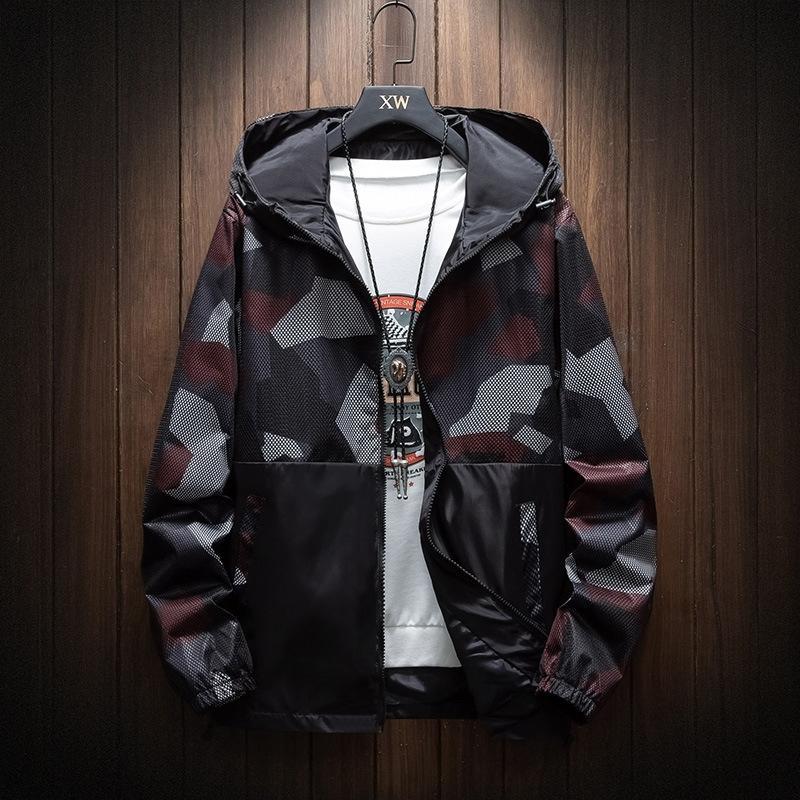 5vEL8 İlkbahar ve Sonbahar Açık spor WINDBREAKER ceket erkekler açık spor eğlence çift katmanlı ceket artı artı boyutu gençlik eller kapüşonlu