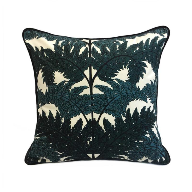 Imprimir Moda Contemporânea folhas da árvore verde escuro Digital poliéster Velvet Sofá capa de almofada fronha decorativa 45x45cm