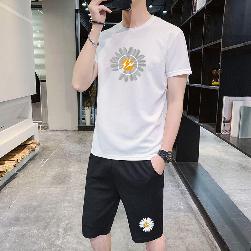 Men's Tracksuits 2020 Fashion New Mens Small Daisy Print Two-piece Leisure Suit Casual Men Active Breathable Suits 4 Colors Size M-4XL