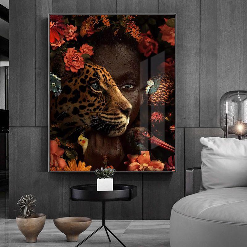 African Art Siyah Kadın Kaplan Gül Kuş Yağı Salon Dekorasyonu için Tuval Cuadros Afiş ve Baskılar Wall Art Picture Boyama