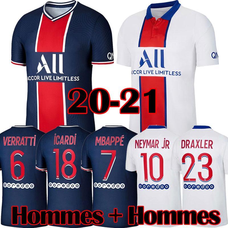 Maillots de football PSG kits 20 21 MBAPPE 2020 2021 soccer jerseys CAVANI MARQUINHOS DRAXLER football Shirt men kids sets Camisa
