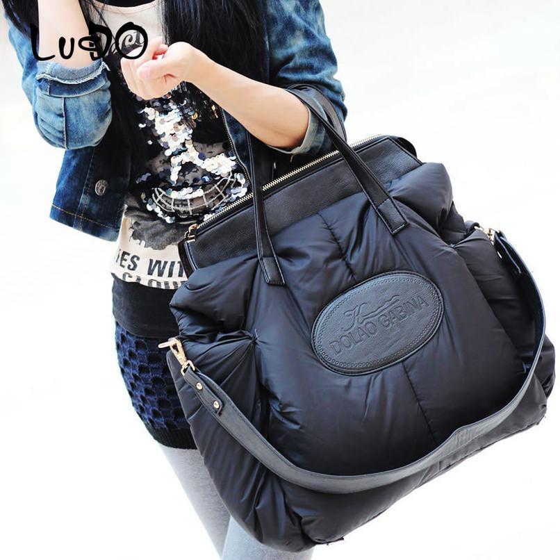 Зима Женщины сумки Мода Space хлопок Материал Большой пакет пуховик сумка Теплый сумка Sac A Главный Болса