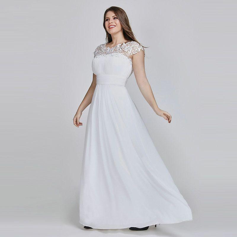 Плюс размер Элегантный Кружева Аппликации Шифон Белый невесты платья для женщин Свадебное платье Беременные 2020