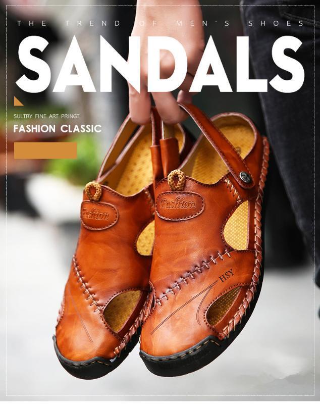 in pelle classici sandali romani 2020 nuovi uomini di tendenza all'aperto scarpe da spiaggia morbide sandali da trekking acqua di fondo