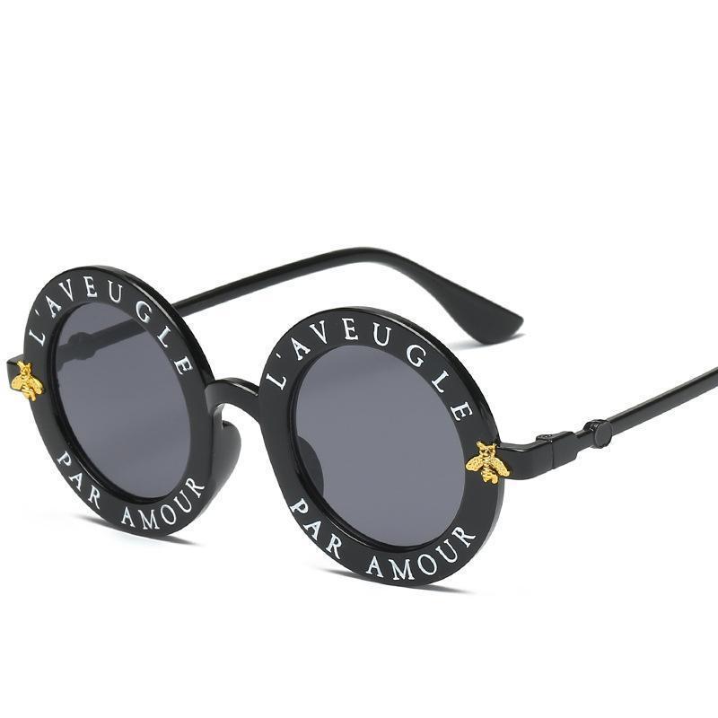 Lunettes de soleil pour les femmes des hommes de mode Little Bee lunettes de soleil de luxe Lettre Motif Rétro Lunettes de soleil rondes
