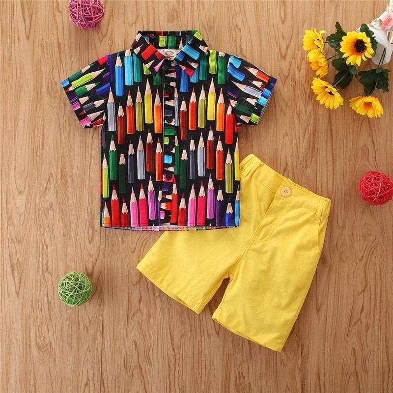 Малыш Baby Boy Мода Gentleman Crayon Печать Tops + Шорты 2PCS Нижнее Set Summer Boy костюмы пляжная одежда Две пьесы Roupas AmZ1 #