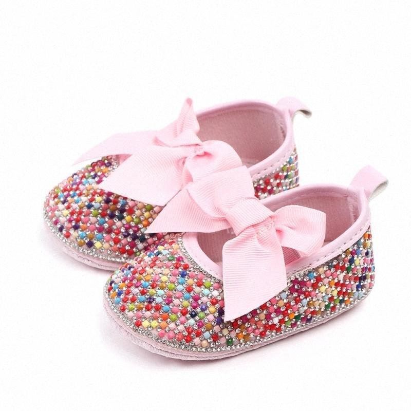 Rosa Rhinestone-Prinzessin Schuhe Neugeborenes Baby erste Wanderer-Kleinkind-Schuhe PU-Leder handgemachte Baby-Mokassins OUIs #