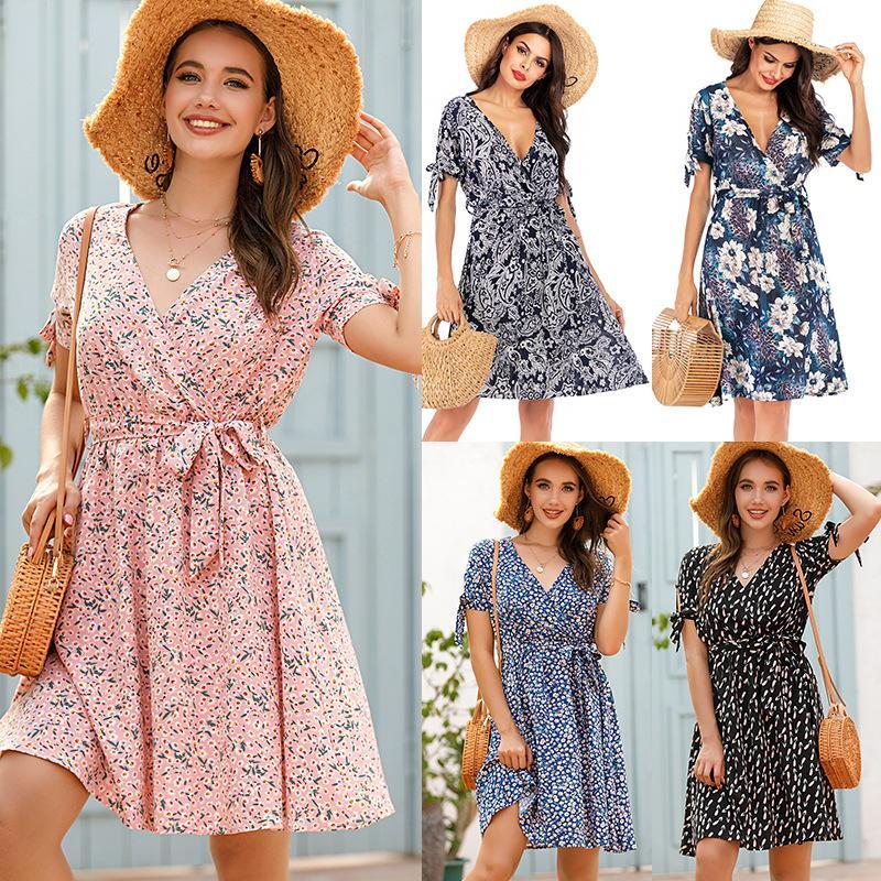 Womens V Neck vestido floral manga curta cintura para baixo Praia Verão vestido de férias Famale roupa ocasional