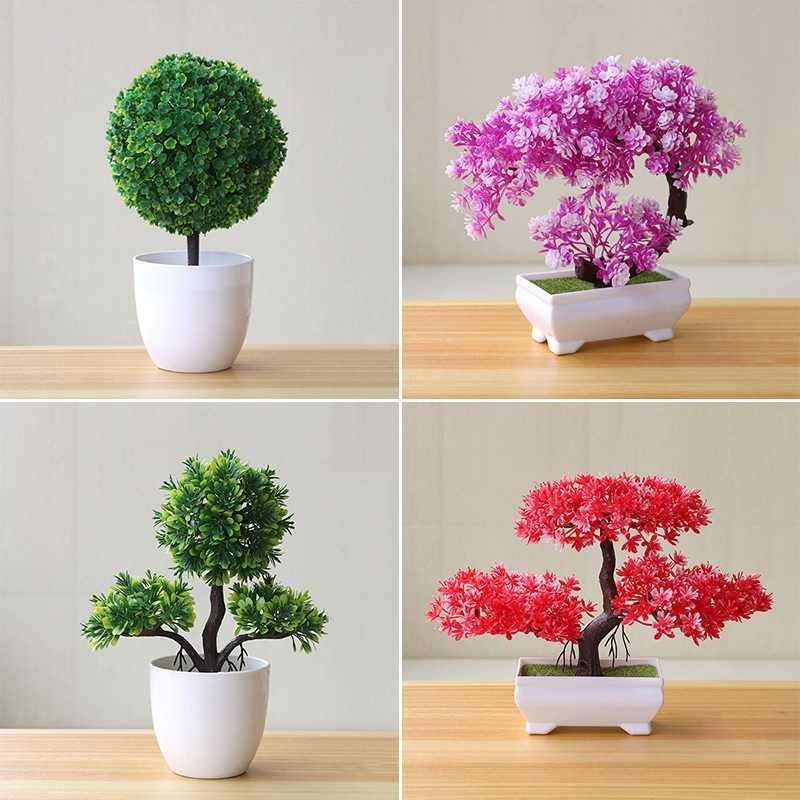Artificial Plants Bonsai Small Tree Pot Fake Flowers Potted Ornaments Decoration