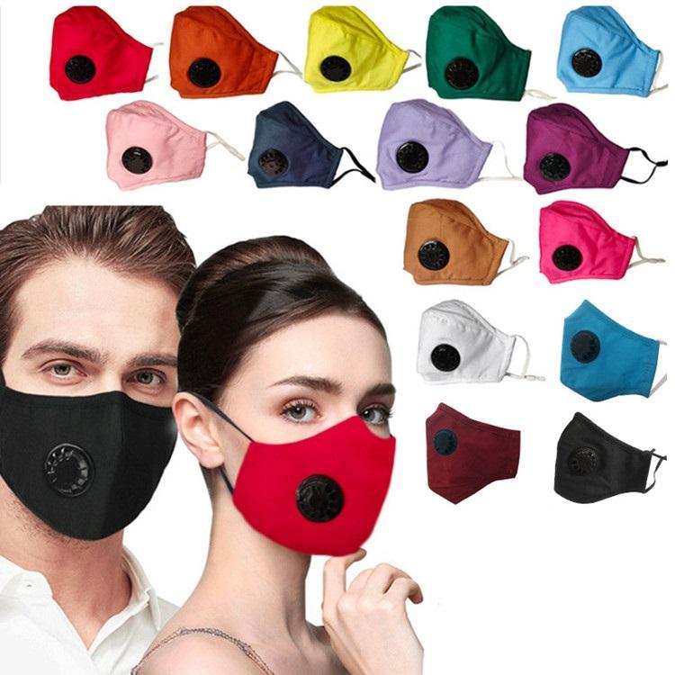 Filtre Tasarımcı maskeler T2I51210 olmadan sıcak Düz renk Maske Nefes Katlanabilir Ağız Maskeleri Yeniden kullanılabilir ile valf Yüz maskesi