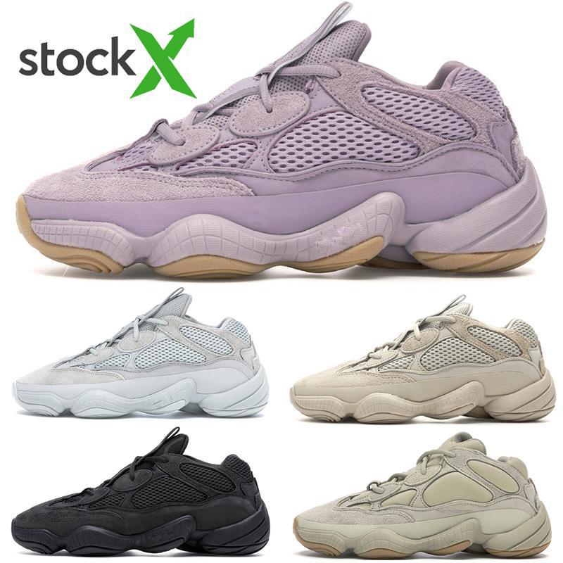 Yumuşak Vision 500 Taş Kemik Beyaz Womens Süper Ay Sarı Yardımcı Siyah Allık Tuz Kanye West stilist Spor Sneakers Ayakkabı Koşu