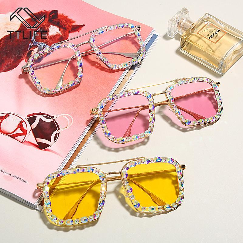 TTLIFE Крупногабаритные площади Алмазный Солнцезащитные очки Женщины 2020 Красочная Luxury Punk солнцезащитные очки женские очки Мода Rhinestone okulary