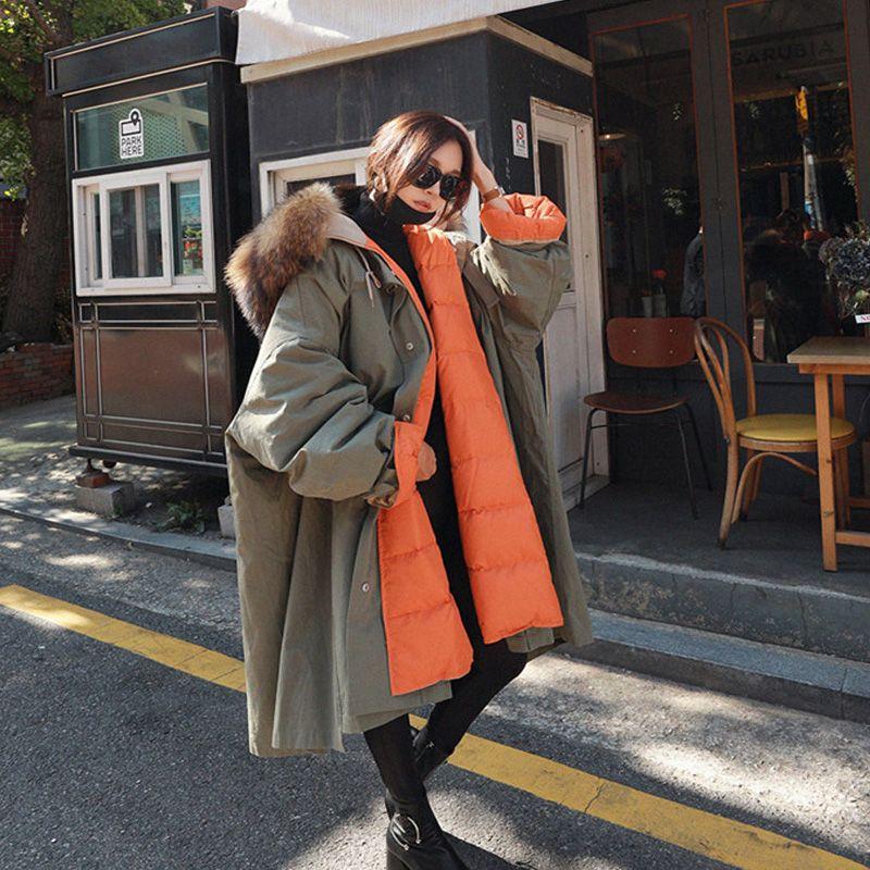 BIg Real Raccoon Fur 2020 New Long Down Parka Female Loose Warm Plus Size Coat Hooded Winter Jacket Women White Duck Down Jacket