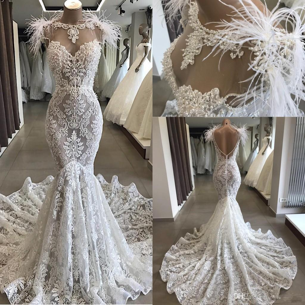 Newest Sexy Fill Lace Mermaid Wedding Dress Vintage Bohemian Beach Bridal Gown With Feathers Plus Size Custom Made