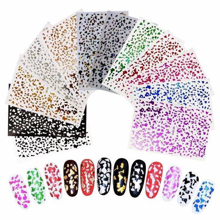 اللون احباط ملصقات الأظافر -Colorful DIY مسمار الفن الشارات 12 أنماط للDIY مسمار وصالون