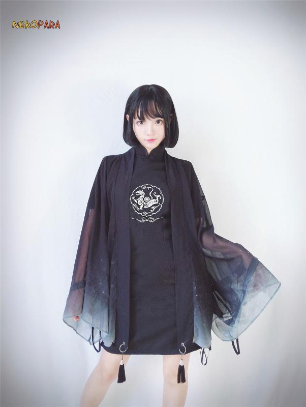 de Ares Blanca Tigher mujeres chinas Chipao Enfriar Harajuku Punk vestido delgado del ajuste Vestido tubo Negro + borla Gradiant color Trench