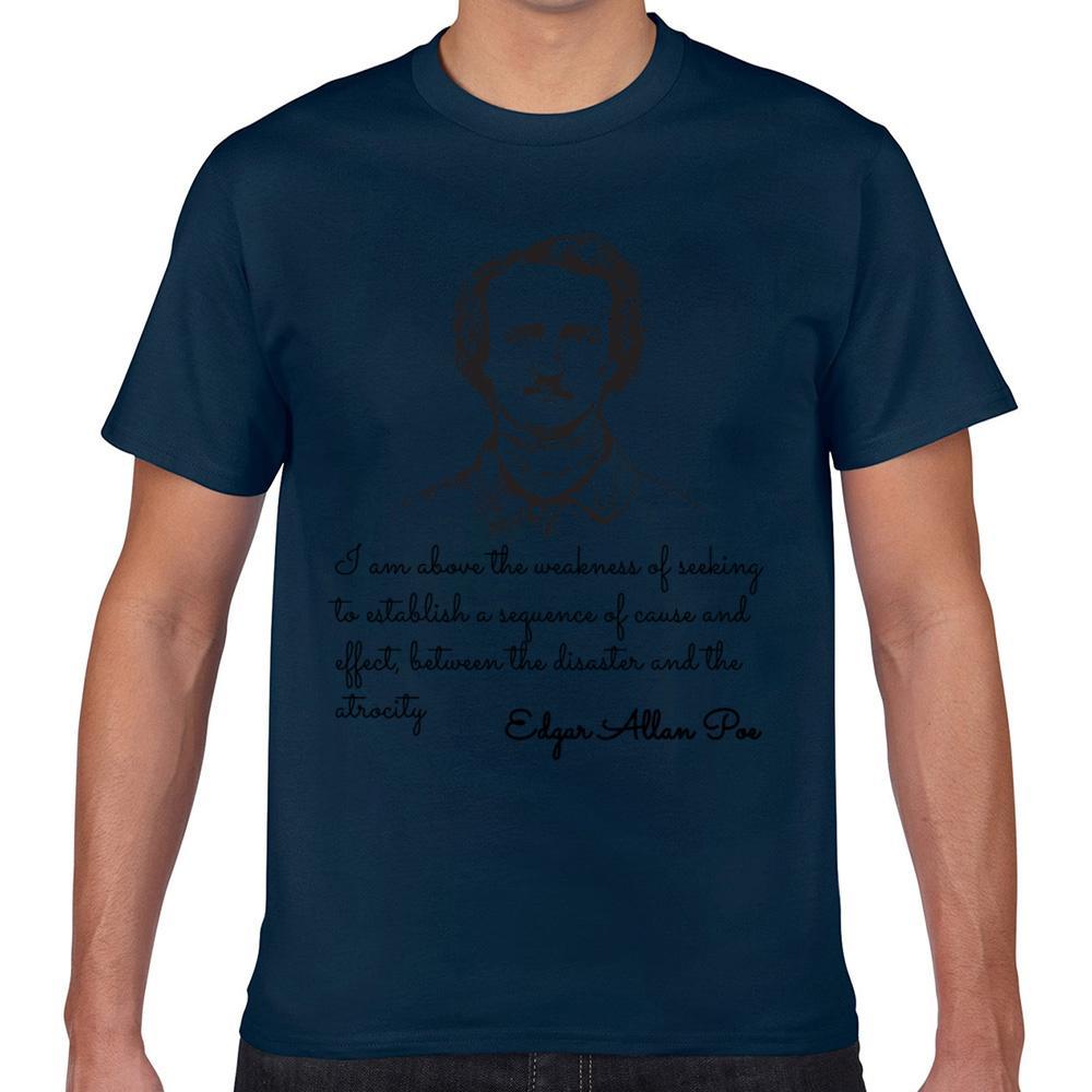 T Gömlek erkekler Edgar Allan Vogue Vintage Geek Pamuk Erkek Tişörtü XXX Poe Tops