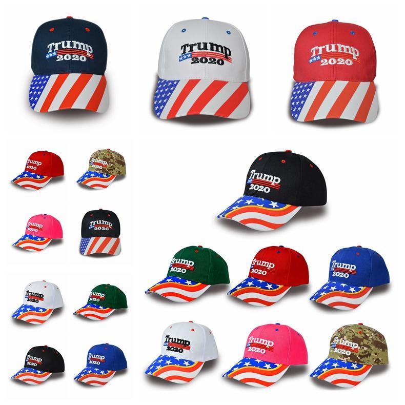 Donald Trump chapéu de basebol da estrela da bandeira dos EUA Camuflagem Cap Trump 2020 Chapéus 3D Letter bordado ajustável Snapback para Party Supplies RRA3306