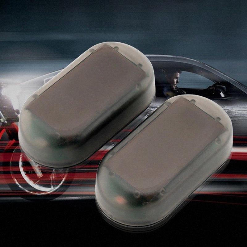 Falso coche Accesorios Interior del coche de seguridad Luz solar Desarrollado simulado advertencia antirrobo lámpara Precaución LED parpadeante Jqs3 #