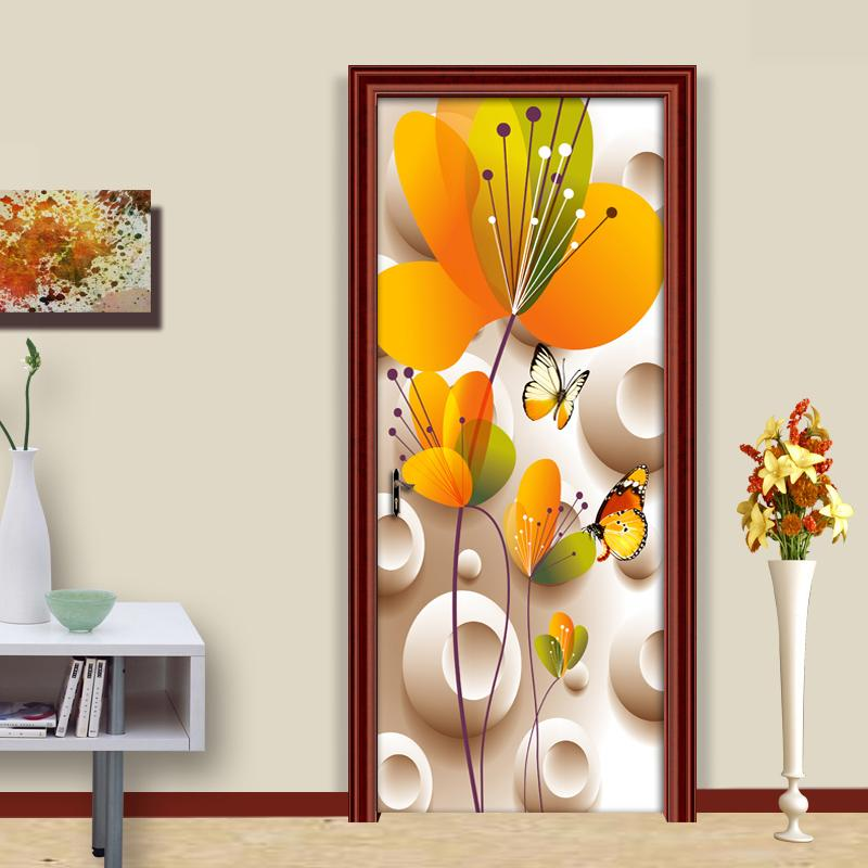 Door sticker3D Stereoscopic Butterfly Flower Living Room Bedroom Home Decoration Door Sticker Modern PVC Waterproof Wall Wallpap