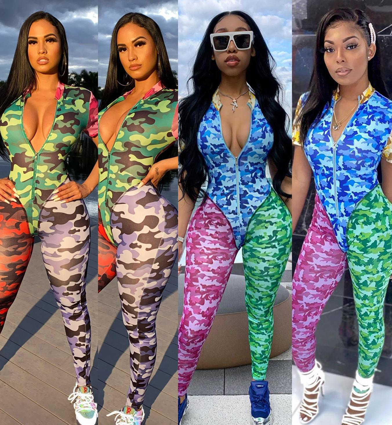 Summer woman camouflage jumpsuits fashion casual stitching contrast printing jumpsuit sexy women jumpsuits rompers S-XXL