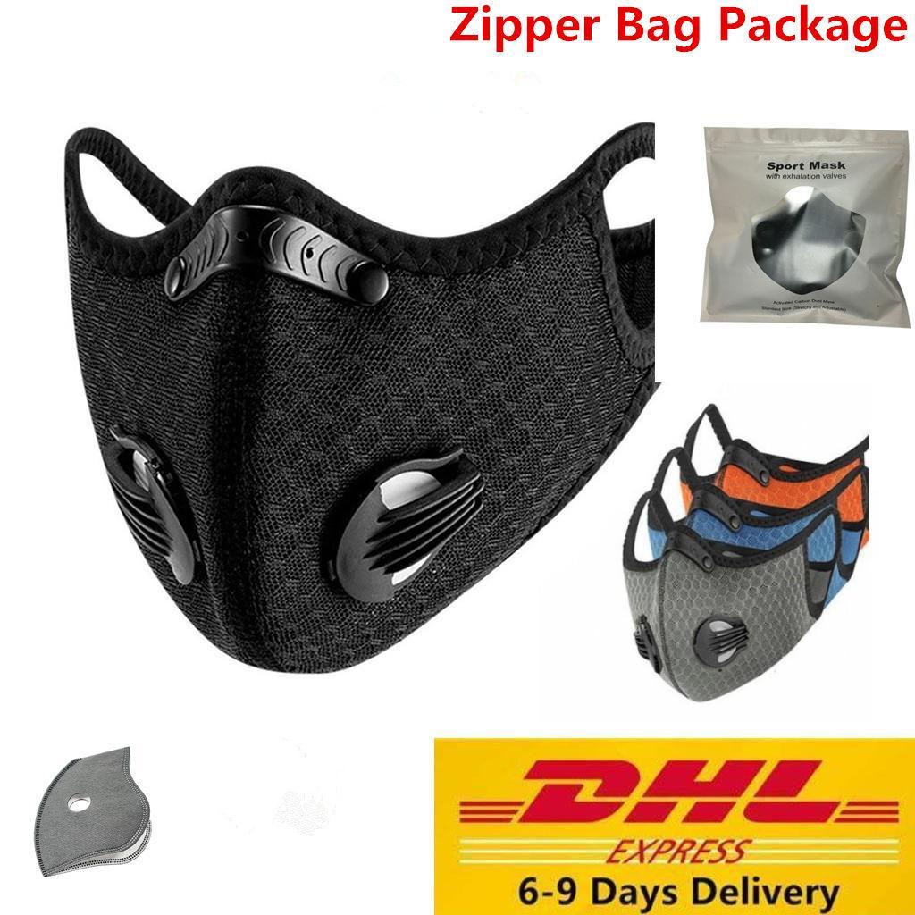 ABD Stok Bisiklet Yüz Maskesi Eğitim MTB Yol Bisikleti Koruma Toz Maskesi Koşu Filtre PM2.5 Karşıtı Kirlilik Sport ile Aktif kömür