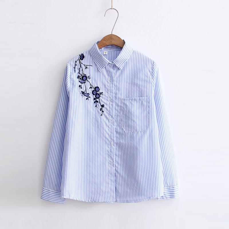 Stickerei-Frauen-Blusen Langarm-Shirts Female Turn-Down-Shirts Blau gestreifte Frauen Casual Tops 2020 Camisas Femininas