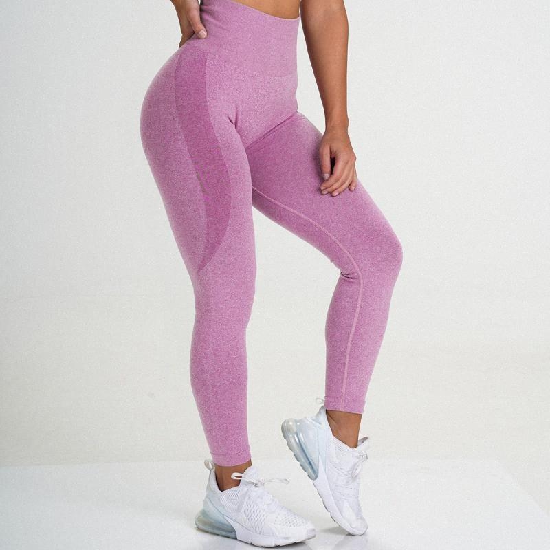 Mujeres sin costura pantalones de yoga de empuje flexibles de hasta transpirable cintura alta polainas melocotón Rump aptitud de la gimnasia pantalones de entrenamiento deporte que se ejecuta EgKW #