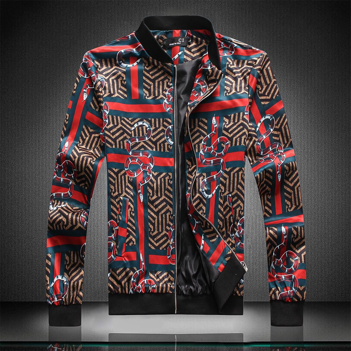 Man printing men's Jacket Coat Stand collar Sweatshirt Long Sleeve Autumn Sports Zipper Windbreaker Mens Clothes black color