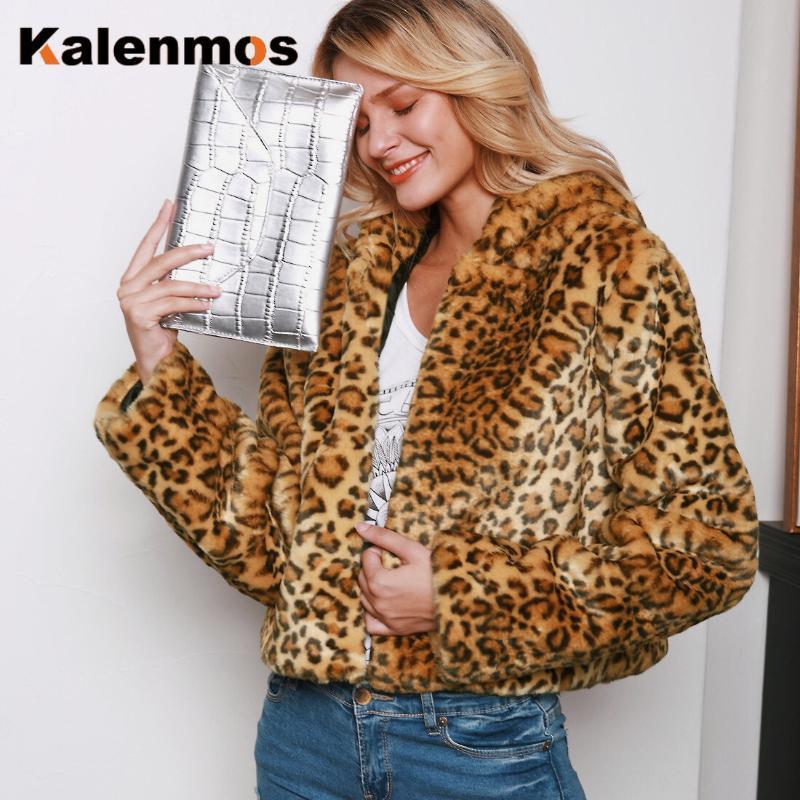 Fausse fourrure manteau léopard Veste Automne Hiver Chaud Pocket Daily Feminino Casual tenue sexy à la main Taille Plus S-3XL Manteaux femmes