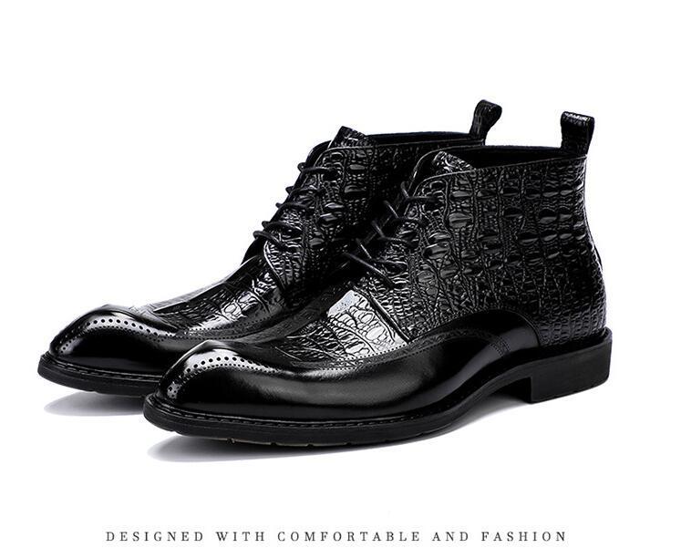 Large Size EUR46 Krokodil Braun / Schwarz wies auf Lederschuhe Mens Ankle Boots echtes Leder Boots Male Brautschuhe da46