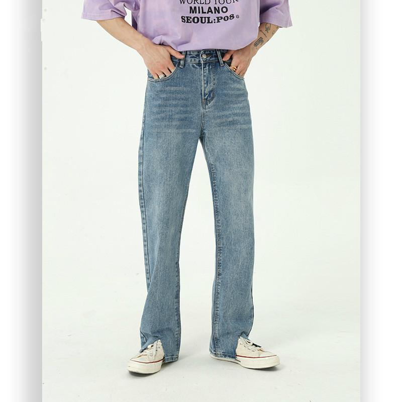 Moda Streetwear Uomini Hem rotto parziali annata diritti casuali dei jeans della mutanda di stile denim pantaloni lunghi Giappone Corea maschio regolare