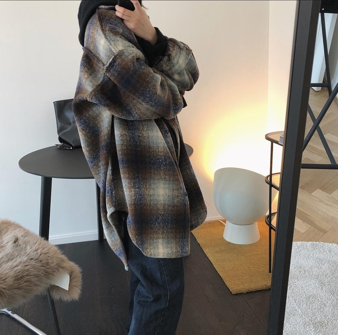 Lufu kış Yeni Kore tarzı Yün büyük boy erkek arkadaşı stil Büyük profil kadınlar için yün ceket rahat gevşek ceket ekose