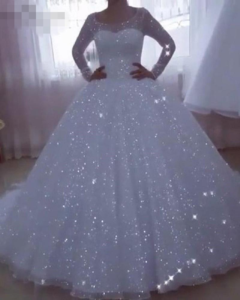 göze batan Vestido De Noiva Sparkle Gelinlik Kadınlar Robe De mariée için 2020 Balo Uzun Kollu Artı boyutu Prenses Gelinlik