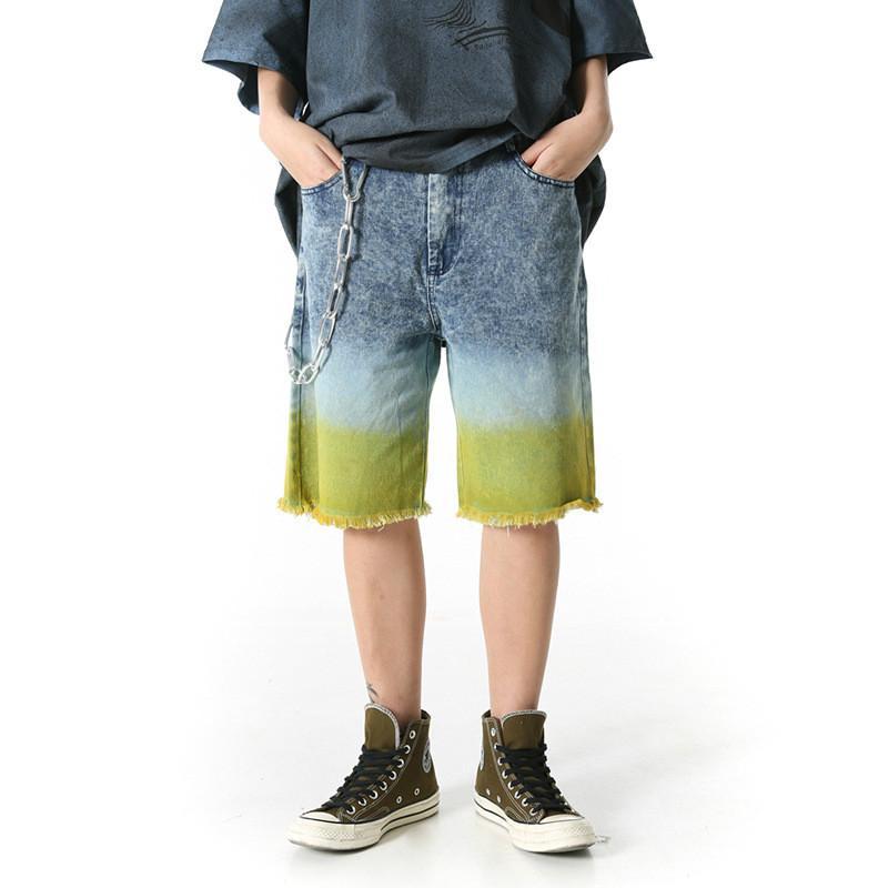 Hommes Gradient Couleur Haute Rue Droite Calf longueur Jeans Homme Streetwear Hip Hop en vrac Denim Pantalon Zipper Mid Lightweight