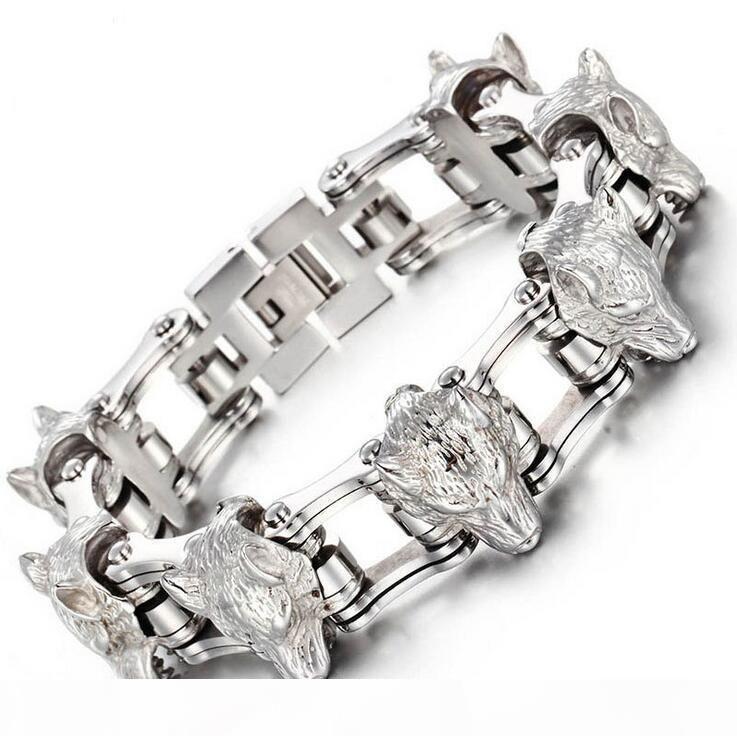 Cool Punk Rock Wolf Lion Head Heavy Stainless Steel Men Bracelet Fashion Bicycle Biker Chain Jewelry Jewellery Gifts