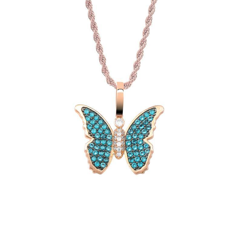 Necklace Pendant For Men Women Rappers Jewelry Street Fashion Bling Zircon Butterfly Luxury 18K Gold Plated Hip Hop Necklaces