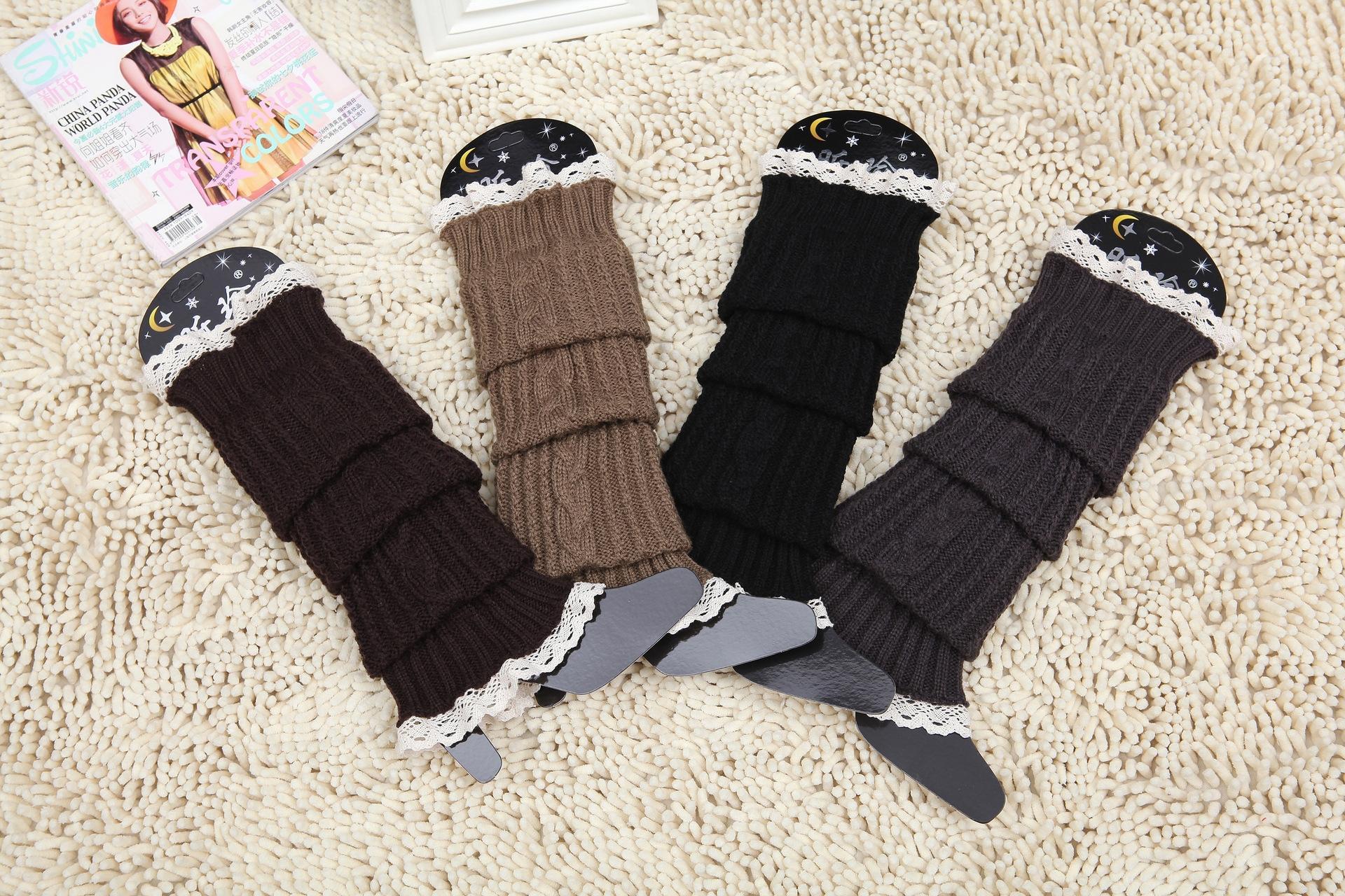 copertura del piede lungo tubo XFmmv maglia di lana calda copertina calzino tocco di pizzo alla moda mucchio giapponese e coreano in calda lana di lana calzini calze di lana