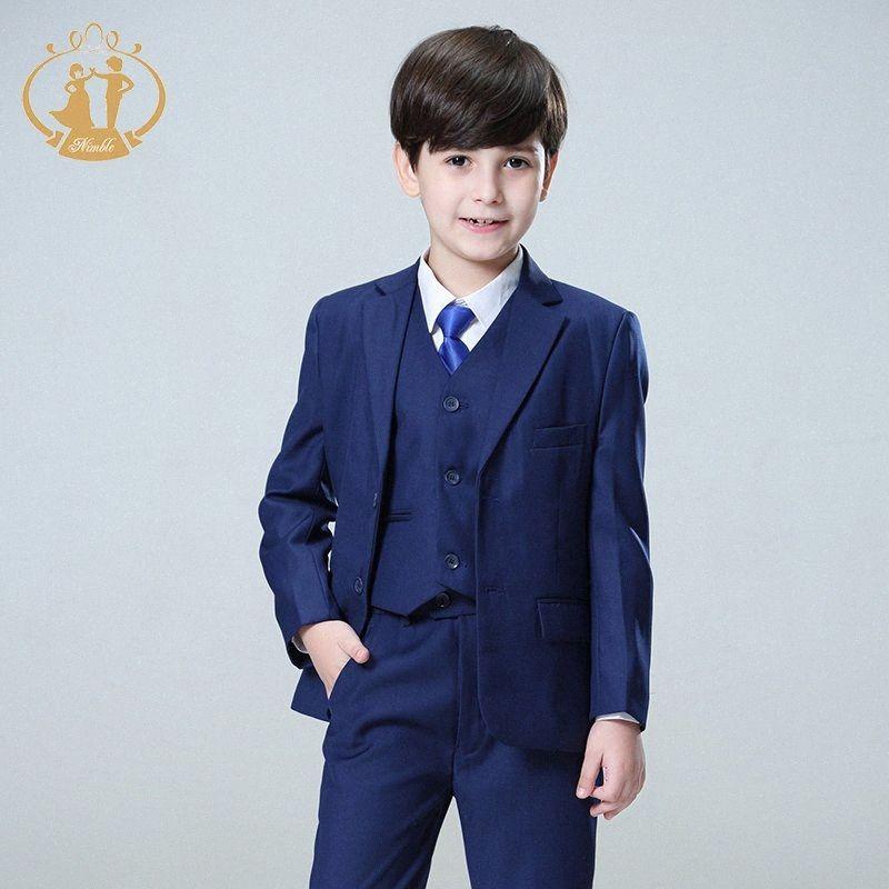 Ágil Blue Boys trajes para bodas niños Blazer Traje de niño traje enfant Garcon Garcon mariage trotar chaqueta smoking chicos hNTN #