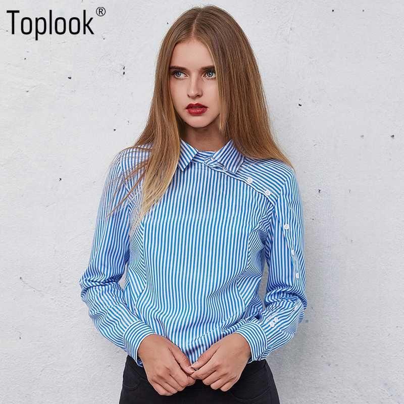 Toplook Stripe Mulheres Botão Blusas 2020 New Moda Inverno manga comprida Turn Down Collar Shirt Vintage Tops Feminino