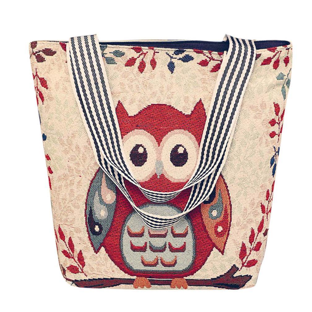 Grande capacidade de lona desenhos animados coruja animal imprimir sacolas bolsas de ombro para mulheres casuais bolsa selvagem para presente de aniversário bolso mujer