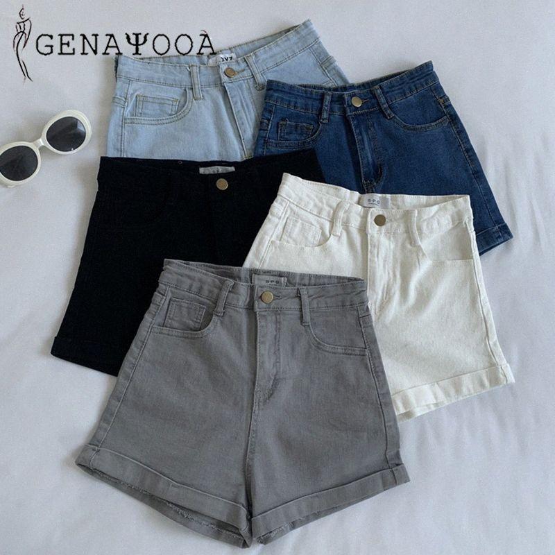 Genayooa Skinny Denim Shorts sólido de alta Jeans cintura Shorts Mulheres Verão 2020 coreana Cotton Black White Washed Sexy Mulheres 2kx7 #