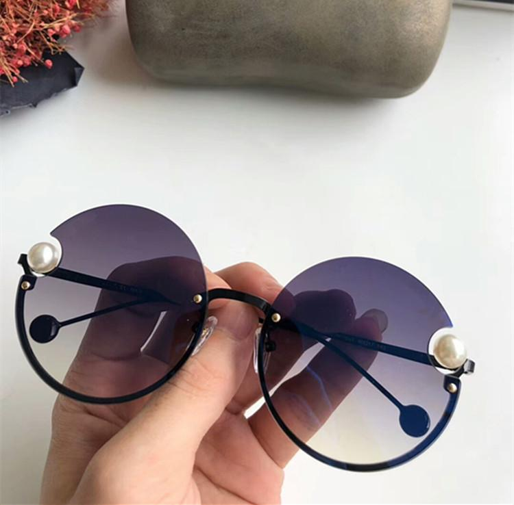 2020 CH218S الكلاسيكية NEW الجولة بدون شفة أزياء النظارات الشمسية UV400 eleglant الإناث اصطناعية لؤلؤة نوعية المعدن نظارات شمس منفذ OEM