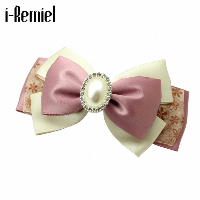 Korea New Handmade Fabric Flower Bow Hairpin Crystal Headband Top Hair Rope Clip Spring Clip Jewelry for Women Hair Accessories 1prR#