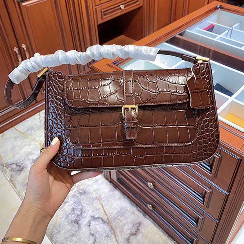 Heiße Verkaufs-Art- und Achseltasche Retro-Krokodil-Muster-Leder-Umhängetasche Weiß Medium Partei Damen-lässige Schultertasche aus Leder Handtaschen Typ1