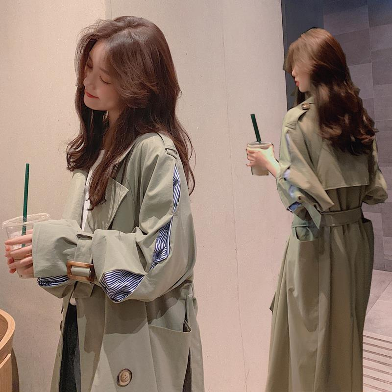 igFLC aFXb0 2020 Autumn trincheira costura trincheira New feminino manguito jaqueta estilo coreano Windbreaker lace-up das mulheres trespassado casaco co