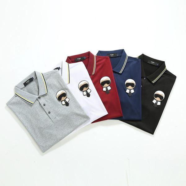 Nuevo diseño de lujo polos de los hombres casual Polos letra de la manera impresión bordado camiseta Calle de algodón para hombre Polos M-3XL