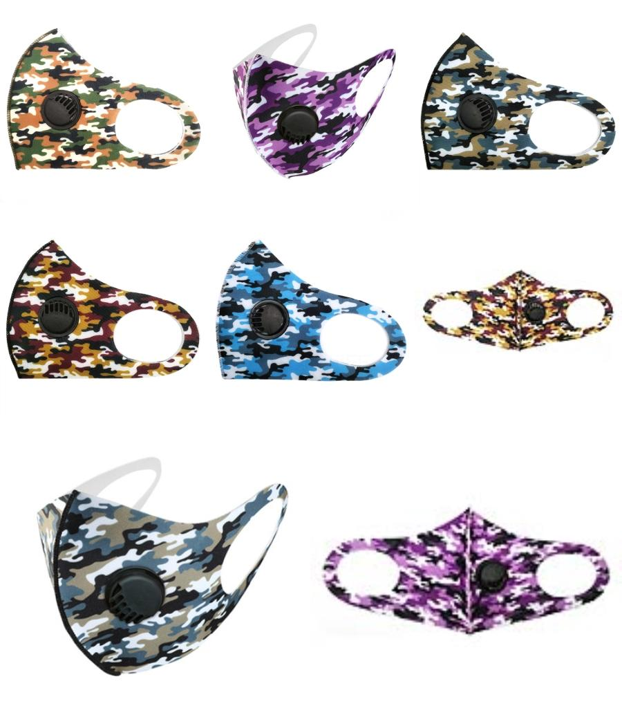 Hot 17 Styleadult Men And Women With Valve Face Mask Camouflage Mask Personality Without Filter Dust Mask Designer Printed Masks Da480 #1#135