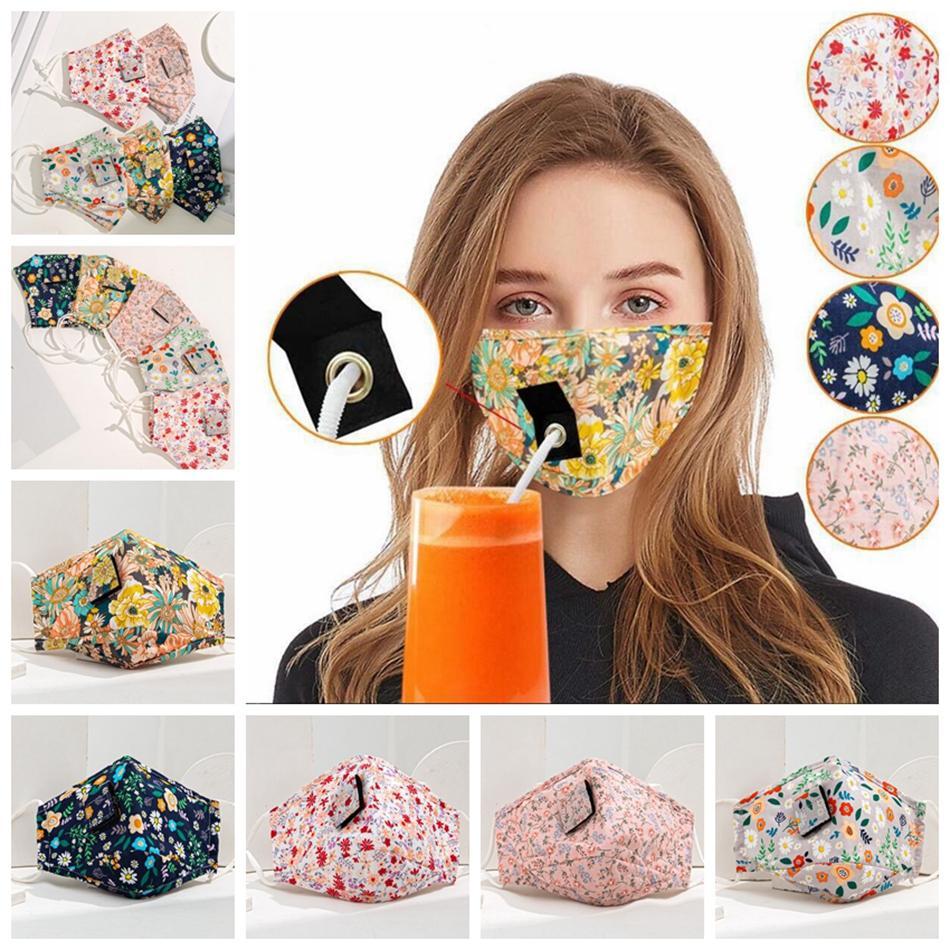 Printed Cotton Getränk Gesichtsmaske Erwachsener Kind Protective mit Lochmaske für Stroh Trinken waschbare Staubdichtes Außenmundschutz LJJP208